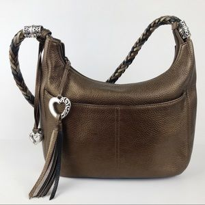 Brighton Barbados Ziptop Hobo Pebbled Leather Braided Strap Leopard Lining Bag